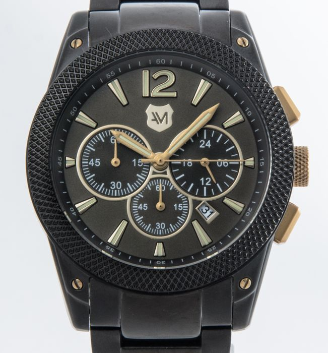 Andrew Marc - All black PVD Men's chronograph 45mm - A21604TP - Bărbați - 2011-prezent