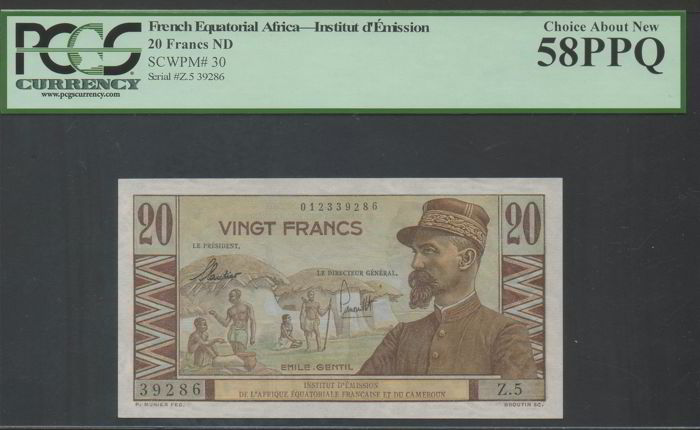 Frans-Equatoriaal-Afrika - 20 Francs ND (1957 issue) -  Pick 30 - PCGS 58 Choice About NEW - PPQ