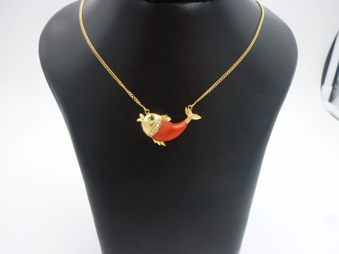 Necklace with Pendant - Gold - 0.1 ct - Diamond and Peridot