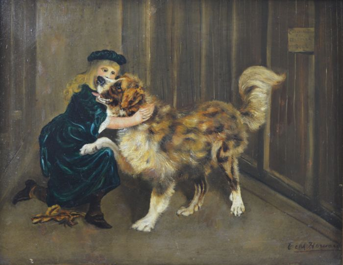 E. M. Howard  - Young girl with a dog