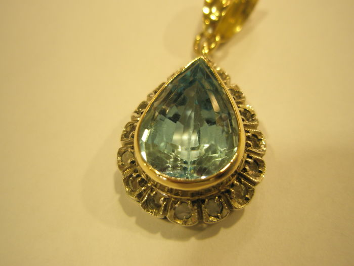vicenza - Pendant - Gold - Natural (untreated) - blue topaz and rosette diamonds