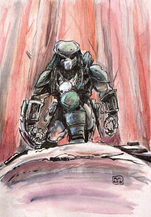 original illustr. - Predator - acquerello cm 34x24 - Loose page (2018)
