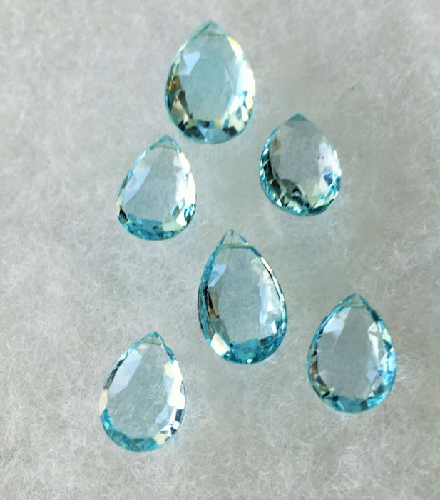 Blue topaz 33.96 cts total 6 pieces