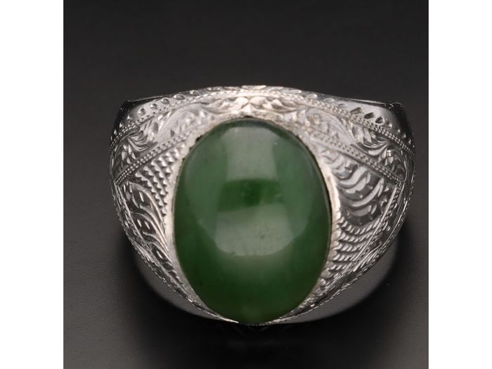 Ring - White gold - jade