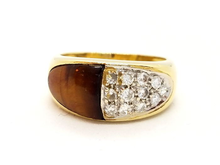 18 kt. Yellow gold - Ring - 0.18 ct Diamond - Eye of tiger