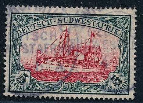 Colonies allemandes allemandes - Afrique du sud-ouest 1906 - Kaiseryacht 5 Mark yellowish red, with watermark - Michel Nr. 32 Aa