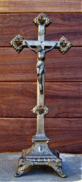 Crucifix - Silver plated - Italy - 1875-1900