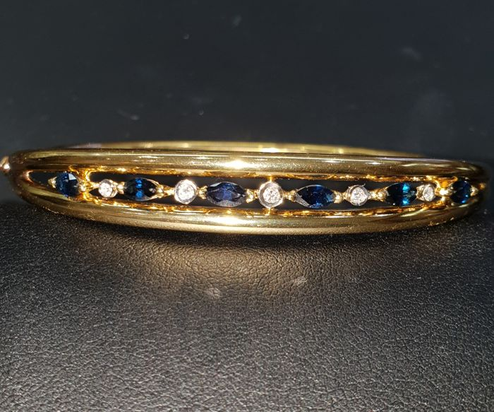 Bracelet - Gold - Natural (untreated) - 0.8 ct - Sapphire and Diamond