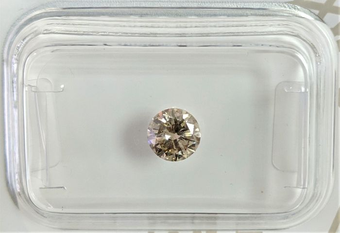 0.50 ct - Natural Fancy Diamond - Light Greenish Brown Color - SI3 - EX/VG/EX - NO RESERVE!