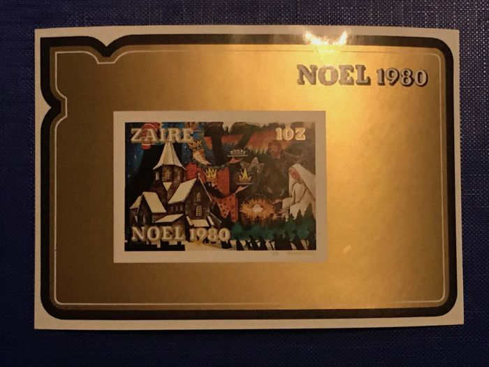 Zaire 1980 - Christmas - Imperforate blocks in the original packaging of one hundred pieces - OBP / COB BL47ND