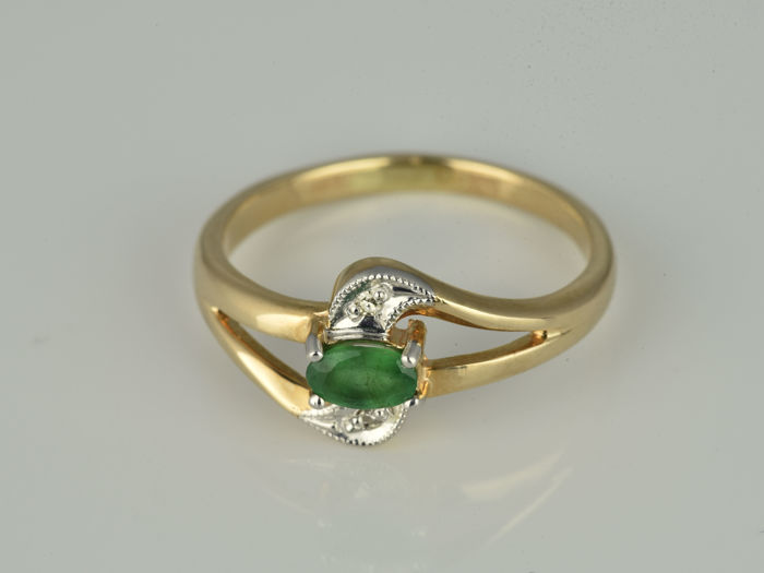 Ring - Pink gold, White gold - Natural (untreated) - 0.23 ct - Emerald and Diamond
