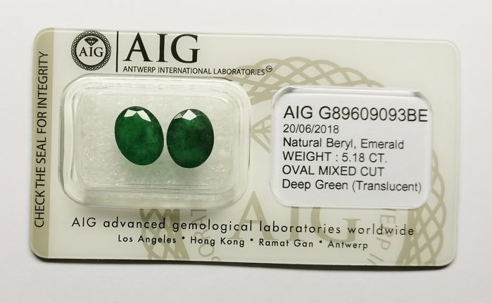 Couple of 2 Emerald Deep Green 5.18 ct ***No Reserve***
