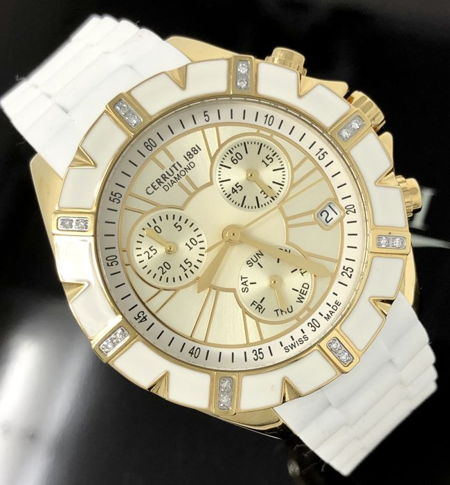 Cerruti 1881 - 16 Diamonds Chronograph White Silicone Swiss Made  - CCRWDM031R244Q - Senhora - NEW