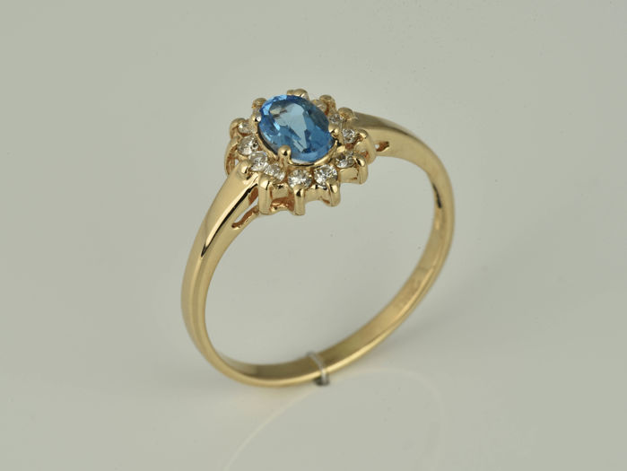 Ring - Pink gold - Natural (untreated) - 0.57 ct - Topaz and Diamond