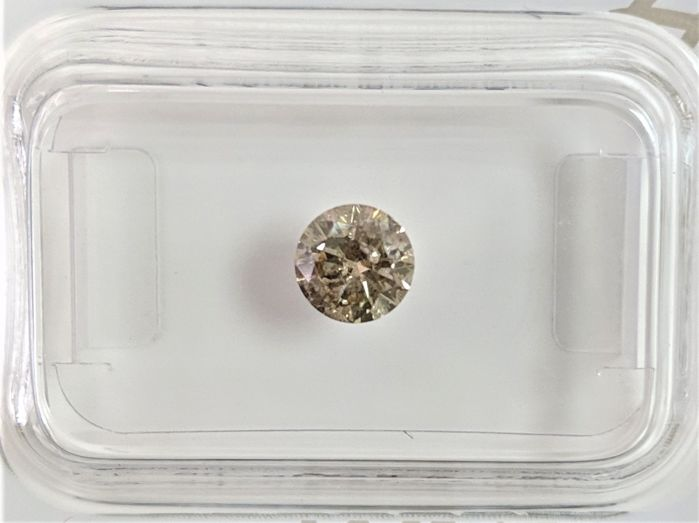 0.48 ct - Natural Fancy Diamond - Light Yellowish Brown Color - I1 - VG/VG/VG - NO RESERVE!