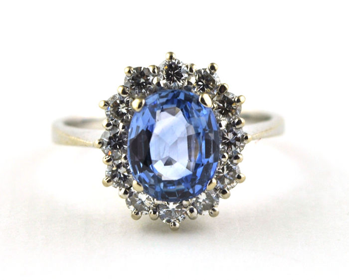 Exclusive High Quality - 18 kt. White gold - Ring - 3.00 ct Sapphire - Diamond