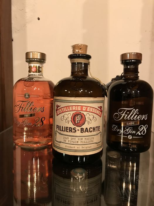 Filliers - Pink Dry Gin, '1926' Dry Gin Recipe, Classic Dry - 50cl - 3 bottles
