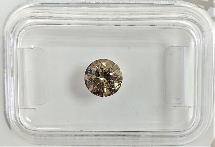 0.73 ct - Natural Fancy Diamond - Brownish Yellow Color - SI3 - EX/VG/EX - NO RESERVE!