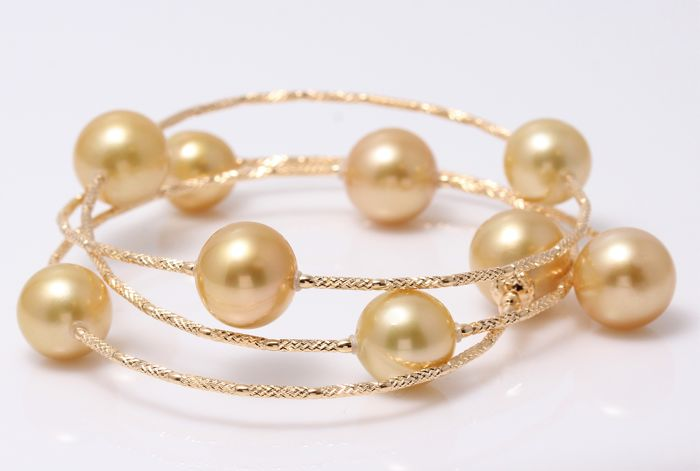 18 karat Gult gull - 10x12 mm Golden South Sea Pearls - Armbånd