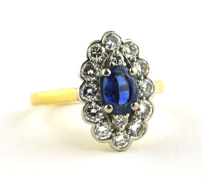 Ring - Gold, Platinum - Sapphire and Diamond
