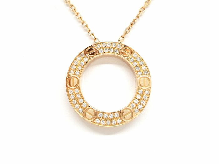 Cartier - 18 kt. Pink gold - Necklace with pendant - 0.34 ct Diamond