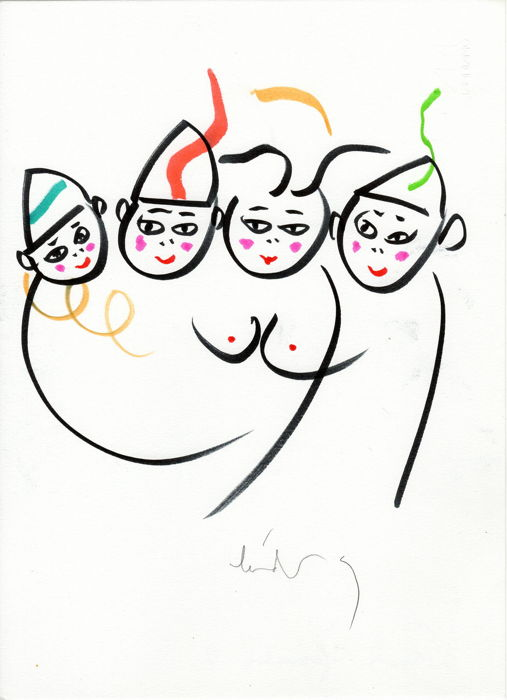 Lindsay Kemp Choreographer and Painter - Dancing Drawings Circus Family 2 Line Circus