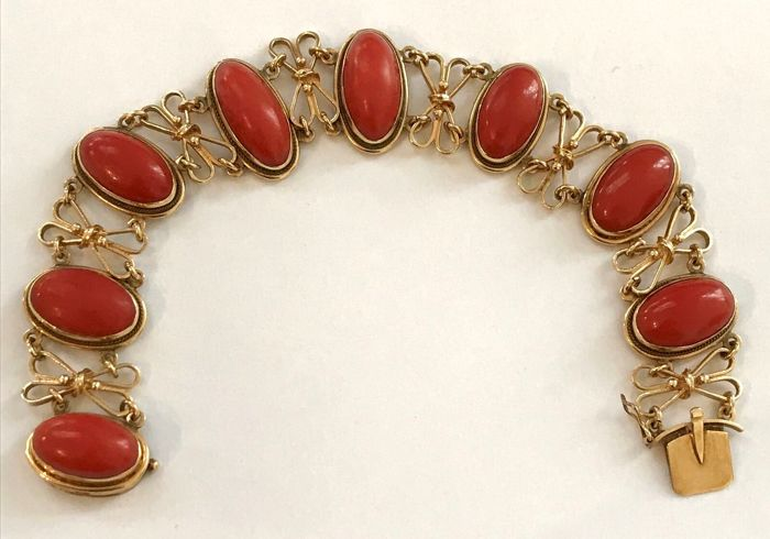 14 karaat golden - Armband Blood coral