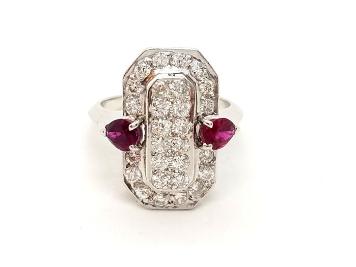 Ring - White gold - 0.56 ct - Diamond and Ruby