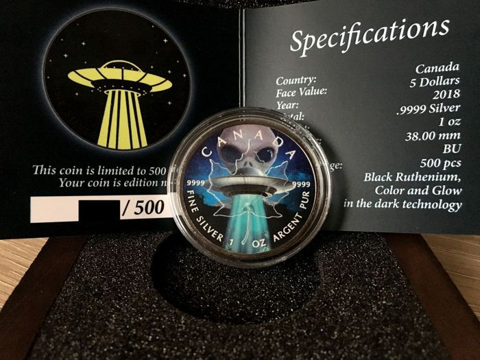 Canada - 5 Dollar 2018 Alien and UFO Glow in the Dark - 1 Oz- Silver Coins & Banknotes for sale