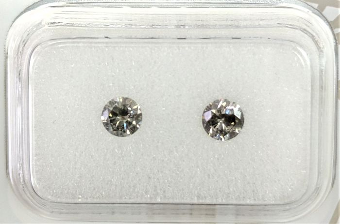 0.42 tcw - Pair Of Natural Fancy Diamonds - Intense Grey Color - VS2 - NO RESERVE!