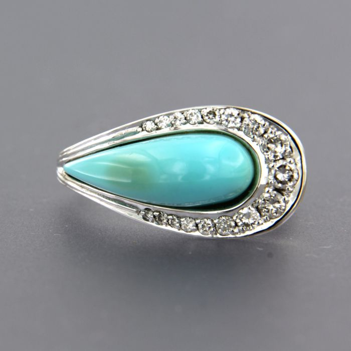 18 karaat Witgoud - Ring - 0.40 ct Diamant - Turquoise
