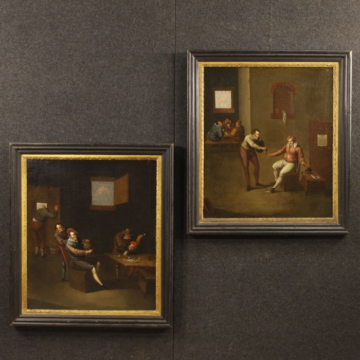 Mathieu de Meele (1664 - ca. 1724) - Pair of antique Flemish paintings depicting indoor scenes
