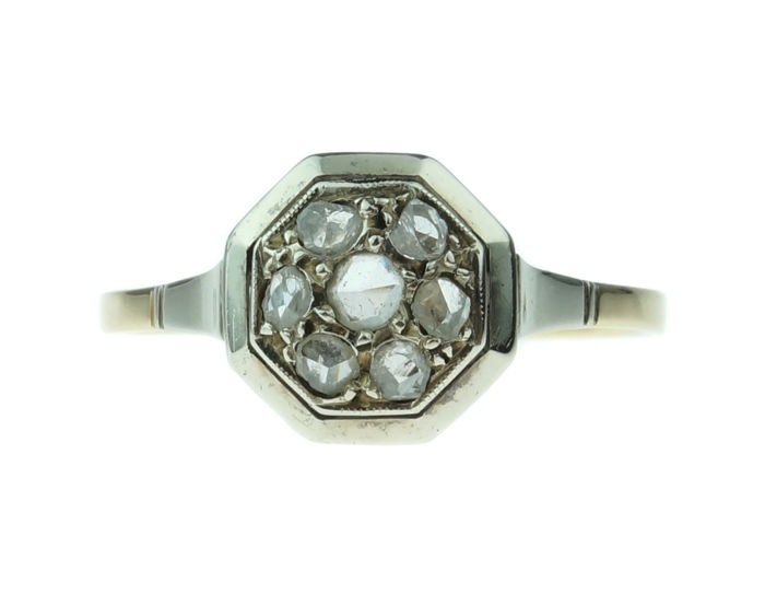 Art Deco - 14 karaat Goud - Ring Diamant