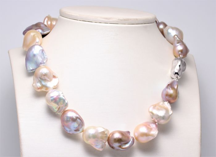 925 Silver - 14x17mm Freshwater Pearls - Necklace