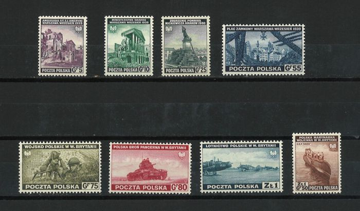 Poland 1941 - Exile Government in Great Britain - Scott 3K1 - 3K8