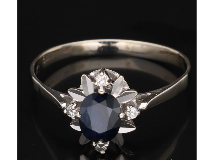 Ring - White gold - Sapphire and Diamond
