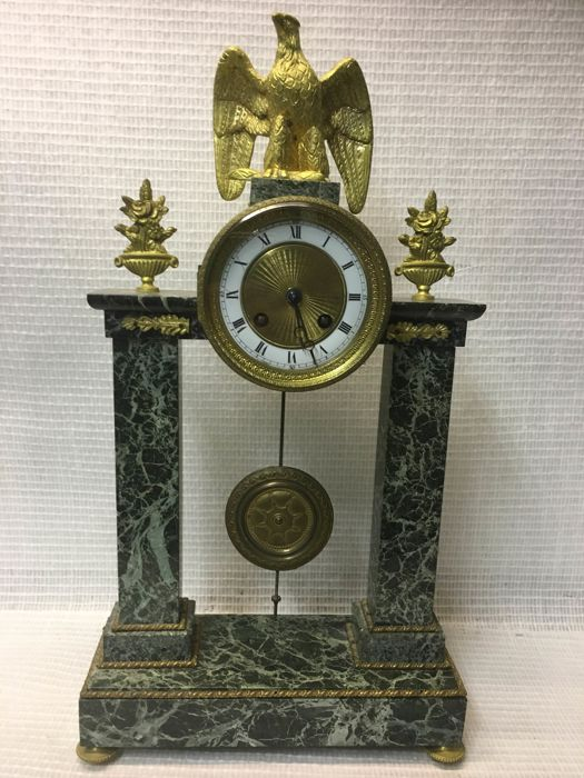 clock set - Bronze (gilt/silvered/patinated/cold painted), Marble - mid 19th century