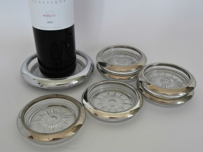 6x Glass coasters + Champagne-bottle coaster - glass with silver plated mounting - United Kingdom - 1950-1999