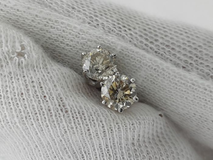 No Reserve Price  - Earrings - White gold - 1.14 ct - Diamond