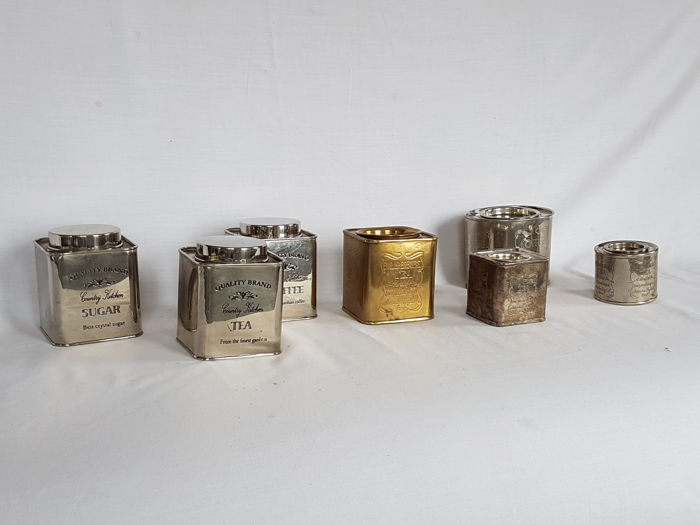 7 Vintage silver plated and silver-coloured tins - Metal, in good condition, 2nd half 20th century