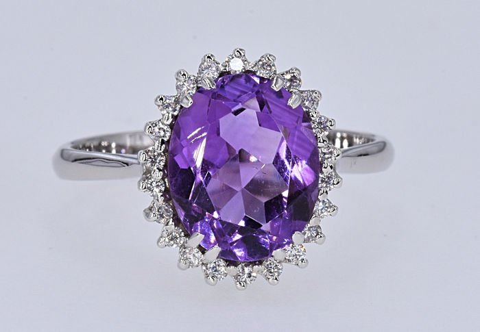 Ring - White gold - 2.88 ct - Amethyst and Diamond