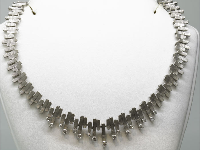 18 kt. White gold - Necklace - 1.00 ct Diamond