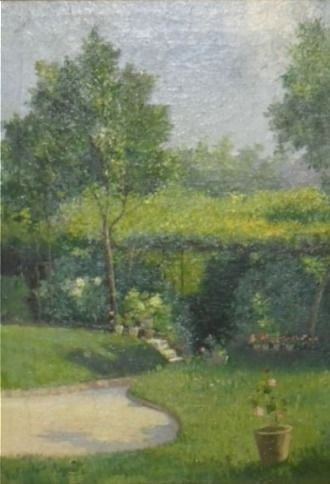 Enrico Reycend (Italy, Turin 1855 - 1928 ) - Garden with Trees