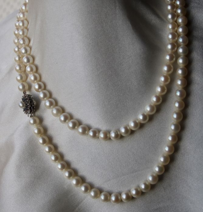 Heavy and Very long or 2- strand necklace - White gold - No indication of treatments - 0.80 ct - Sapphire and sea/salty Japanese Akoya pearls ø 7 -7.2mm
