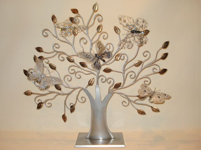 Large Tree of Life with 5 Deco Butterflies - metal, gold / silver laminate