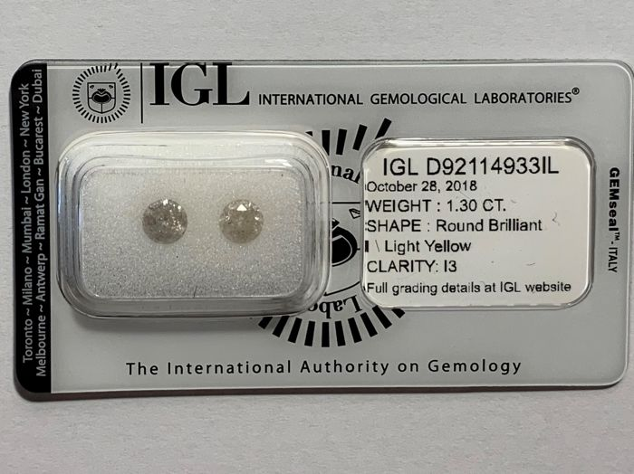 1.30 CT- Natural White I and Natural Fancy Light Yellow Color – I3 - NO RESERVE
