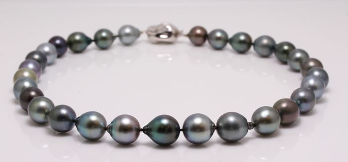 Necklace - Silver - 11.2x13.6mm Tahitian Pearls
