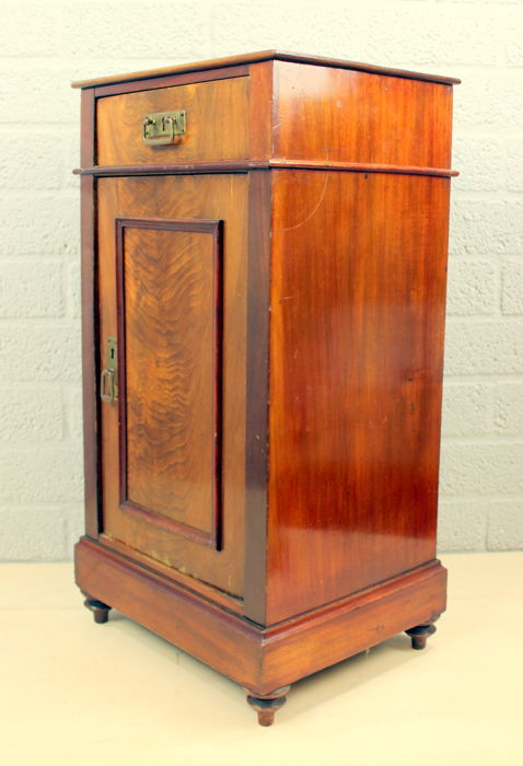 A Side Table Or Bedside Table With Door And Drawer Mahogany And