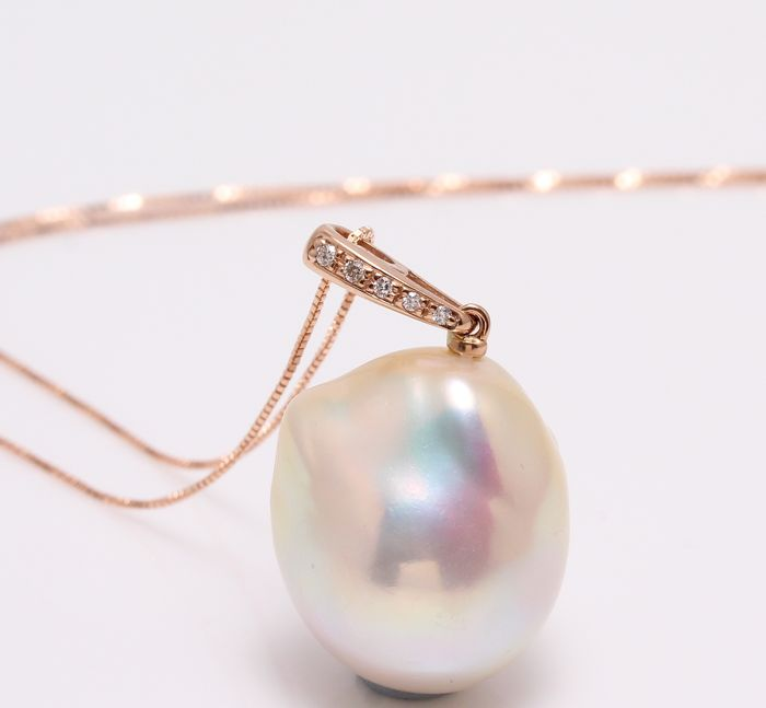 Necklace with Pendant - Rose Gold - 16mm Freshwater Pearl - 0.04 ct - Diamond