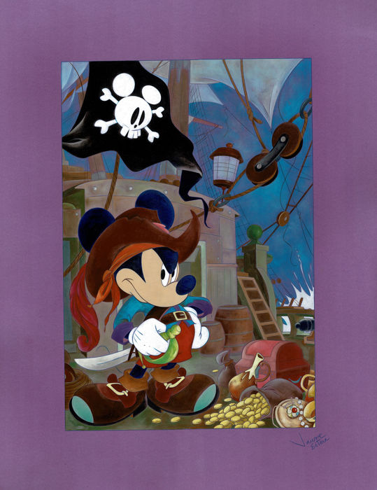 Mickey's Pirate Adventure - Original Painting - Jaume Esteve - 65 x 50 cm - First edition